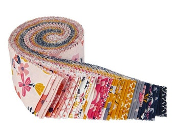 """Golden Aster Collection - Rolie Polie 2 1/2"""" inch Strip Bundle - Quilting Fabric - by Gabrielle Neil for Riley Blake Designs -( RP-9840-40 )"""