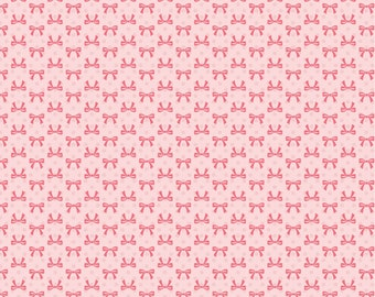 Dots and Posies Collection - Pink - Bows - Quilting Cotton Fabric - by Poppie Cotton Fabrics - ( DP20407 )