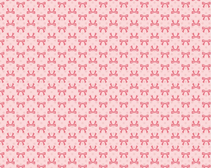 Pink - Bows - Dots and Posies Collection - Quilting Cotton Fabric - by Poppie Cotton Fabrics - ( DP20407 )