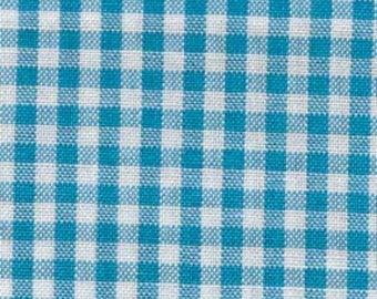 """Turquoise - Gingham - 1/8"""" inch - Caronlina Gingham Collection - Yarn Dye - Quilting Cotton Fabric - by Robert Kaufman - ( P-5689-10 )"""