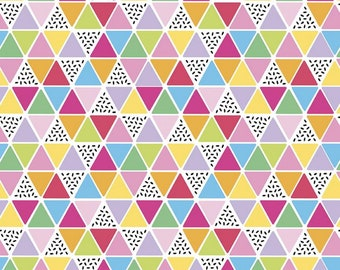 Rainbowfruit Collection - White - Triangles - by Amber Kemp-Gerstel of Damask Love for Riley Blake Designs - ( C10896-WHITE )