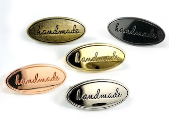 Oval Handmade Label - Tag - Purse Labels - Bag Hardware - Multiple Colors - by Emmaline - ( OVAL-HANDMADE )