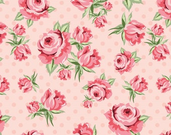 Dots and Posies Collection - Pink - Prize Roses - Quilting Cotton Fabric - by Poppie Cotton Fabrics - ( DP20401 )