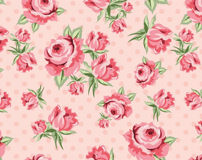 Pink - Prize Roses - Dots and Posies Collection - Quilting Cotton Fabric - by Poppie Cotton Fabrics - ( DP20401 )