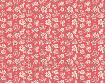 Dots and Posies Collection - Red - Mini Fleurs - Quilting Cotton Fabric - by Poppie Cotton Fabrics - ( DP20413 )