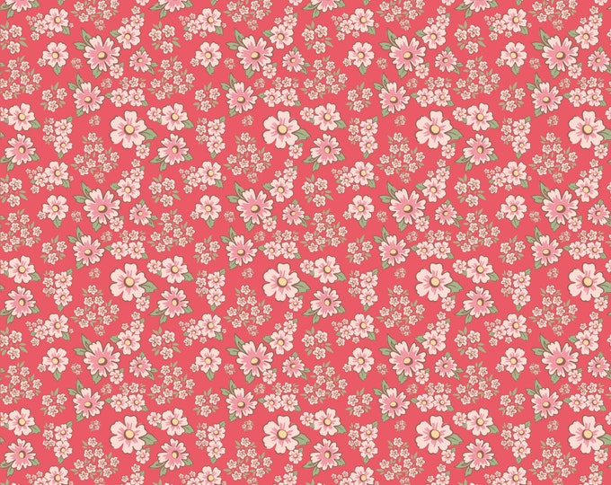 Red - Mini Fleurs - Dots and Posies Collection - Quilting Cotton Fabric - by Poppie Cotton Fabrics - ( DP20413 )
