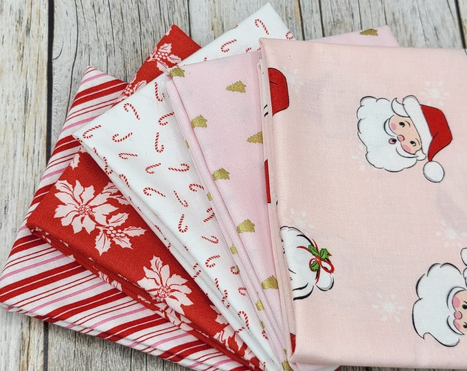 Santa Claus Lane - 5 Fat Quarters - Pink - Red - White - Curated Bundle - Melissa Mortenson for Riley Blake Designs - Quilting Cotton Fabric