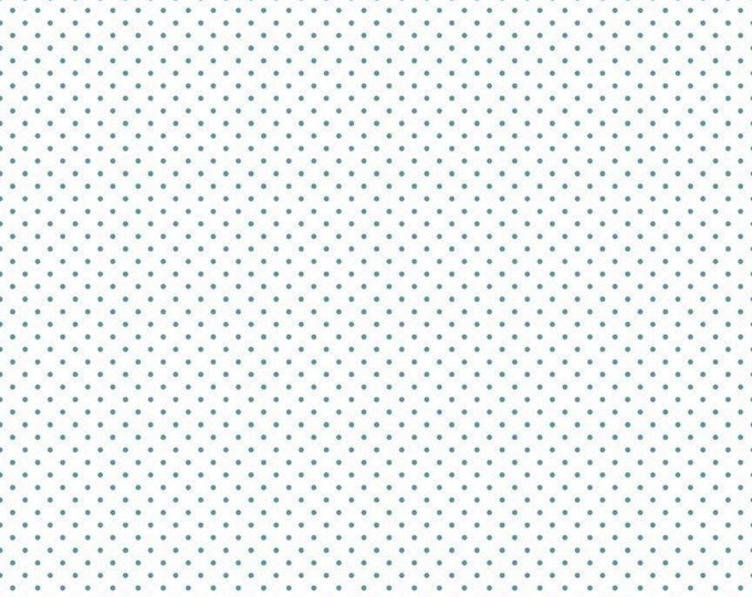 Teal - Swiss Dot on White - Polka Dot - Quilting Cotton Fabric - Riley Blake Designs - ( C660-TEAL )