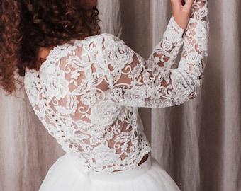 Bridal lace top, Bridal top long sleeve, Wedding top long sleeve, Bridal separates top, Lace top, Bridal crop-top