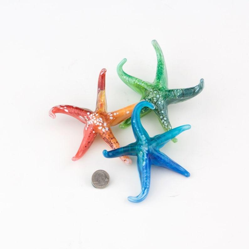 Set of 3 Small glass starfish