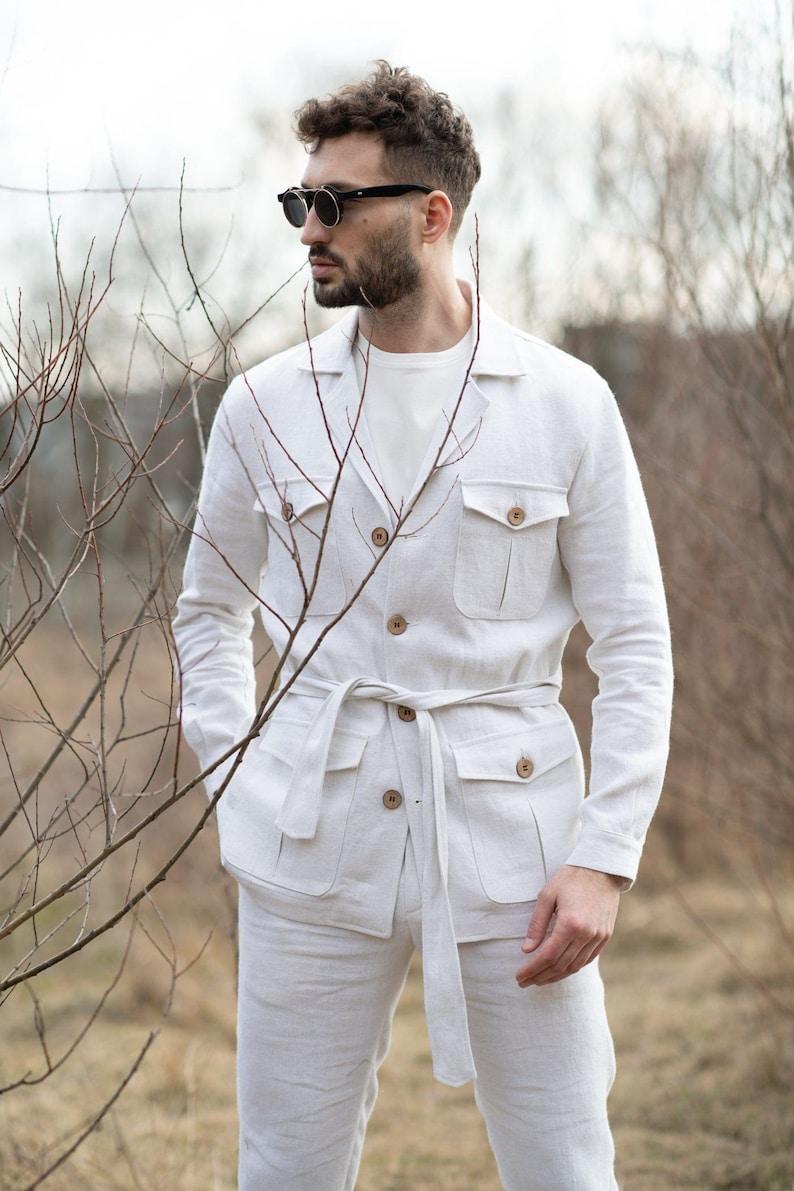 1930s Style Men's Suits, Sportscoats     100% Hemp Off White Safari Jacket Sustainable Multi-Pockets Vintage Mens Fashion Travelling Breathable Sustainable Romanian hemp $220.02 AT vintagedancer.com