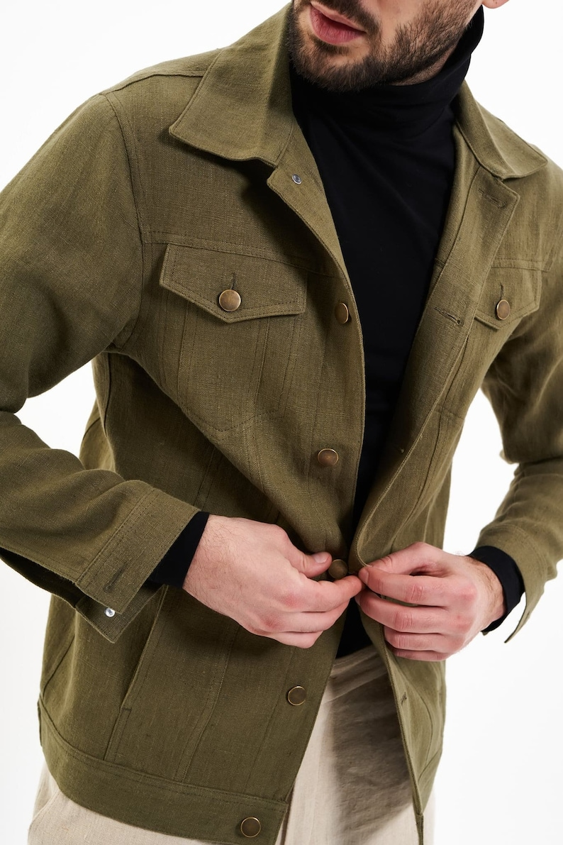 70s Jackets, Furs, Vests, Ponchos     100% Hemp Jacket | Mens Jacket | Denim Style Khaki Organic Spring-Summer Jacket Vegan Natural Fibers Breathable Made in Romania $146.68 AT vintagedancer.com
