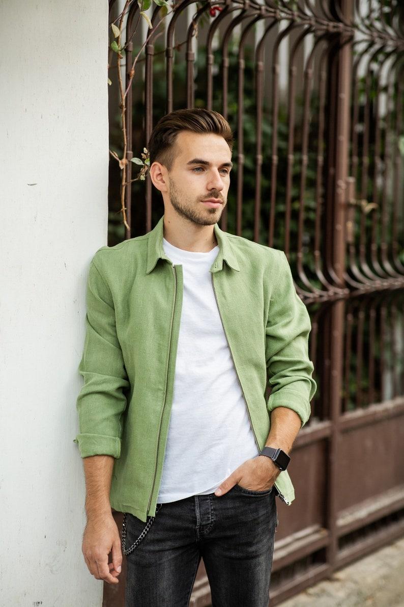 60s 70s Men's Jackets & Sweaters     100% Pure Hemp Urban Jacket Mint Green - Unisex Organic Sustainable Vegan Street Wear Natural Fibers (Made in Romania) $146.68 AT vintagedancer.com