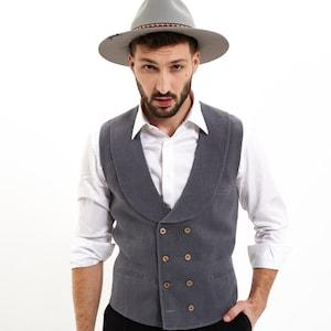 Edwardian Men's Fashion & Clothing 1900-1910s     100% Hemp Waistcoat Rainforest Shawl Lapel 8-Buttons Double-Breasted Mens Vest Mens Fashion Wedding Mens SuitMade in Transylvania $122.23 AT vintagedancer.com