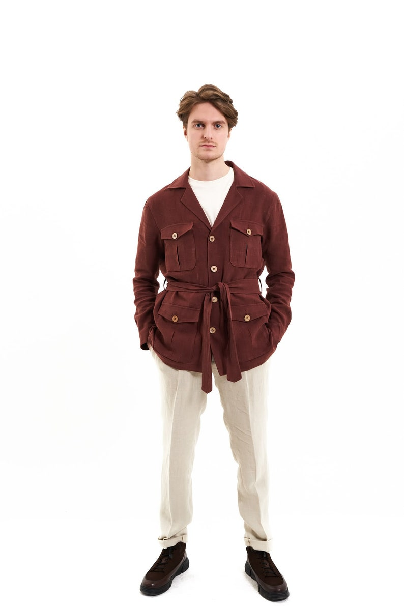 70s Jackets, Furs, Vests, Ponchos     100% Hemp Brown Safari Jacket Sustainable Multi-Pockets Vintage Mens Fashion Travelling Breathable Sustainable Romanian hemp $220.02 AT vintagedancer.com