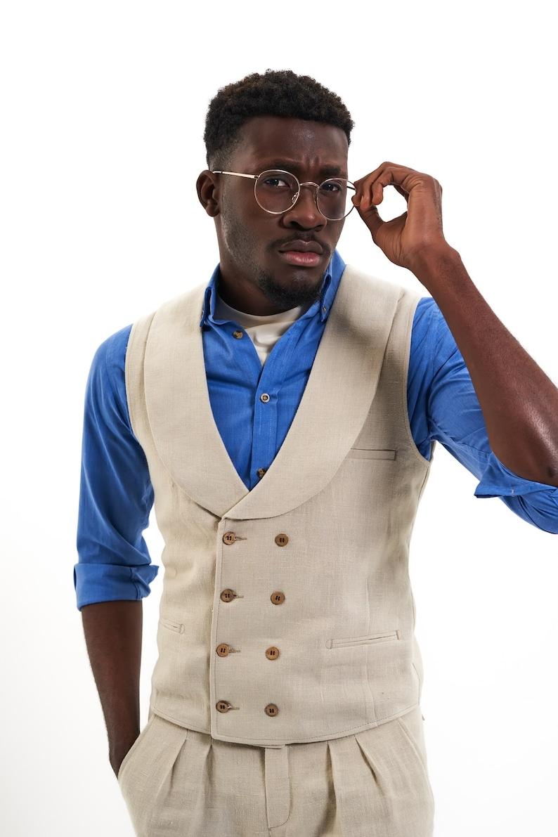Edwardian Men's Formal Wear     100% Hemp Waistcoat Beige Shawl Lapel 8-Buttons Double-Breasted Mens Vest Mens Fashion Wedding Mens Suit Made in Transylvania $122.23 AT vintagedancer.com