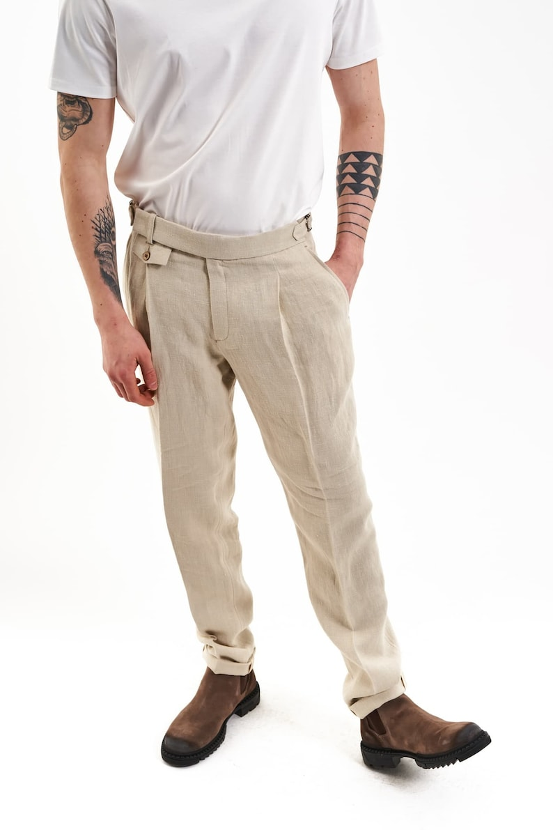 1950s Men's Pants, Trousers, Shorts | Rockabilly Jeans, Greaser Styles     100% Hemp Wedding Trousers (Beige) - Mens Wear Formal Summer Pants Pleated Elegant Organic Vegan Sustainable MTM Made in Europe $158.90 AT vintagedancer.com