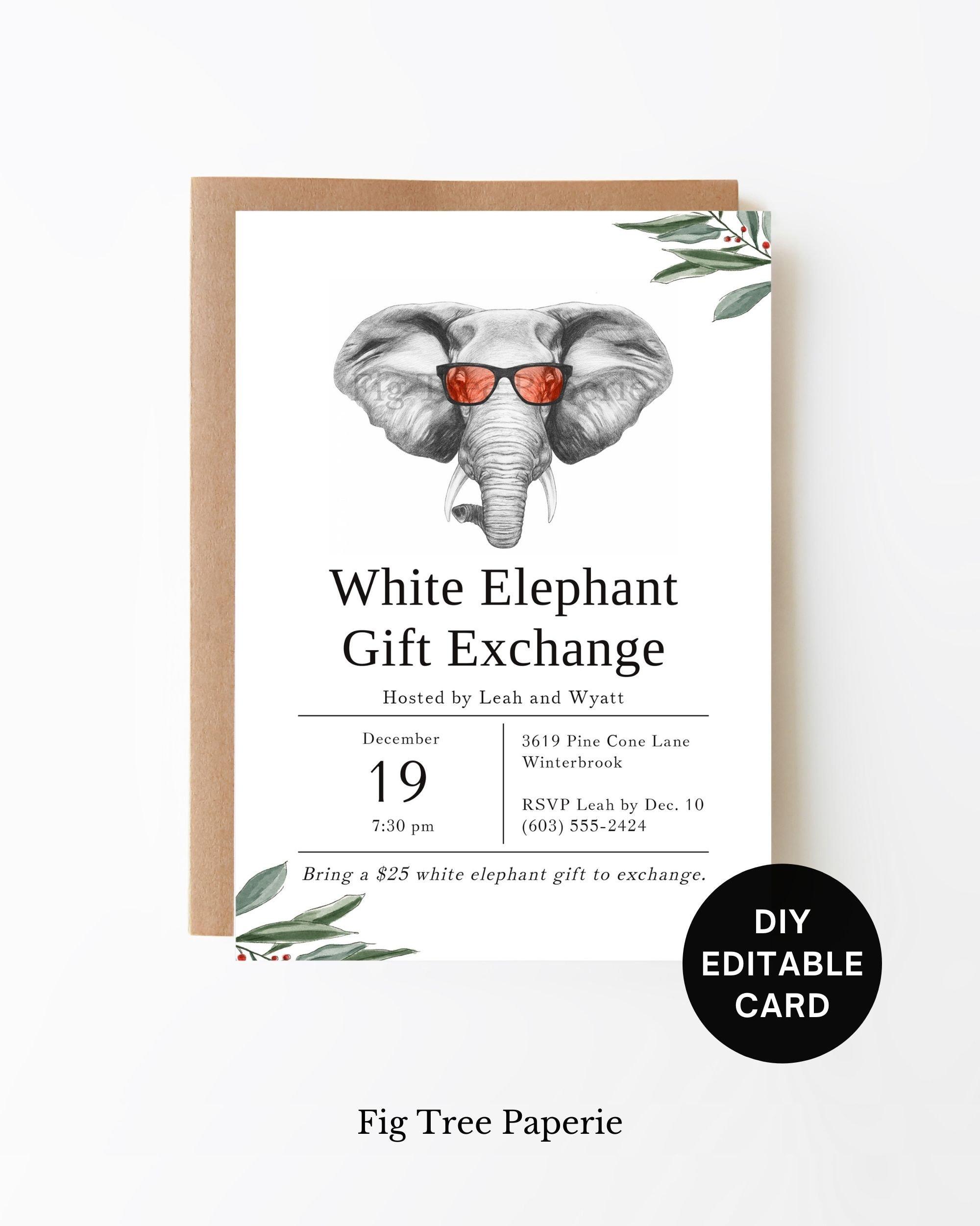 White Elephant Party Invitation, White Elephant Office Holiday Party  Invite, Christmas Gift Exchange Party, White Elephant Friendsmas Party