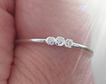 925 CZ Stacking Ring Stackable Ring Sterling Silver Thin Ring Minimalist Skinny Ring