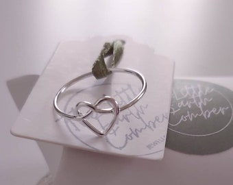 Sterling Silver Love Heart Knot Ring, Friendship Ring, love Ring, Thin Silver Ring, Wire Ring, Small Ring, Silver Ring. 925 Ring, Love Heart