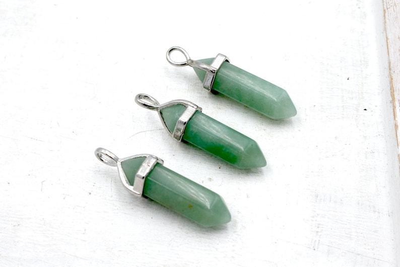 green aventurine gemstone pendant free form pendant pendant gemstone pendant 8X38mm sold as 1 piece crystal, brass bail
