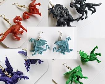 Elemental Dragon Earrings | Geek, miniature figure, D&D, Ice, Fire, mythical, dangle earrings by Cowboy Toad