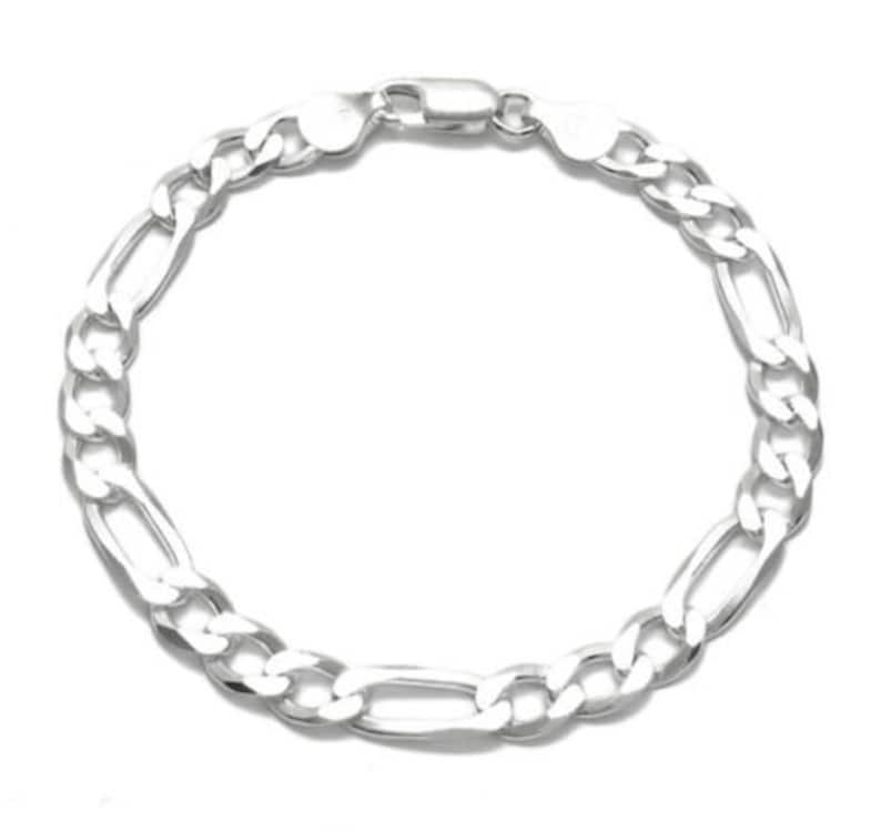 925 Italy Sterling Figaro 7mm Chain Various Lengths