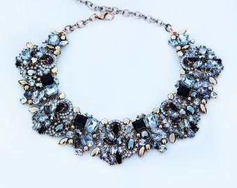 Statement Rhinestone Choker Necklace Black and Gold