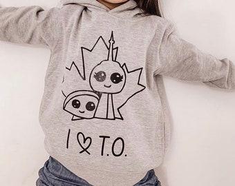 Kids Hoodies I Heart T.O. Unisex Toddler/ Kids Fleece Pullover Toronto Hoody - Krisychris - Kid Sweaters Gift