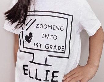 CUSTOM Zooming into 1st Grade Onesie and Kids T-shirt - Boys T-shirt - Girls T-shirt - Krisychris