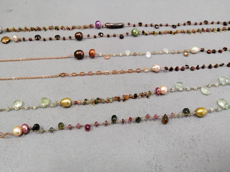 Rose Gold silver chain and gemstones necklaces