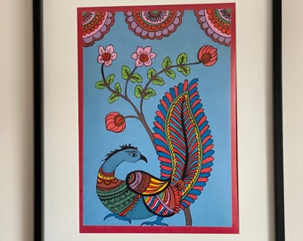 Giclee Art print of Kalamkari painting with a choice of white mount or black frame   Modern home decor  A4 size kitchen and Living room art