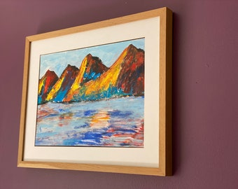 Mountain and lake original painting