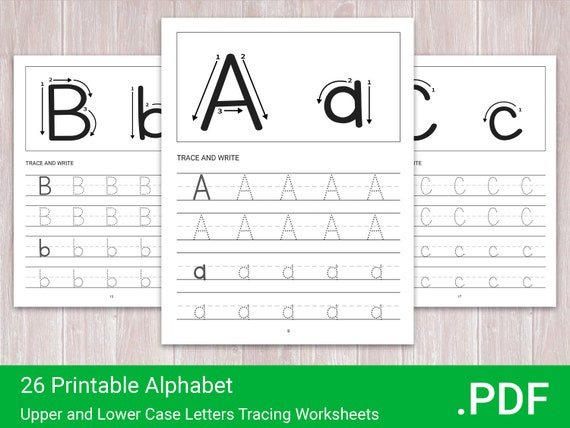 26 Printable Alphabet Upper and Lower Case  Letters Tracing