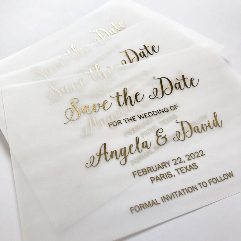Black. Rose Gold Silver Gold Foil Vellum Save the Date Card and Envelope Wedding Invitation personalized with Bride /& Groom/'s name