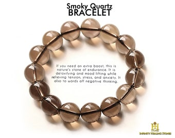 Smokey Quartz Anti-Stress Cabochon Bracelet