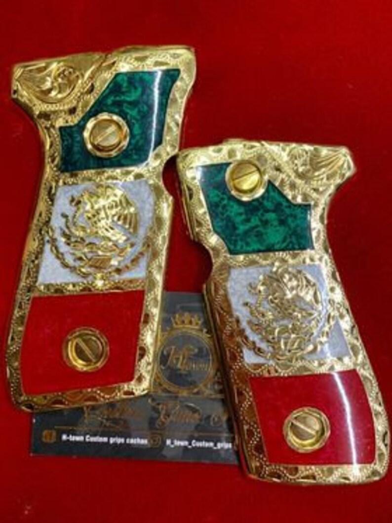 Beretta fs92 fs96 hand Made ba\u00f1o de 24k cachas Bandera de mexico