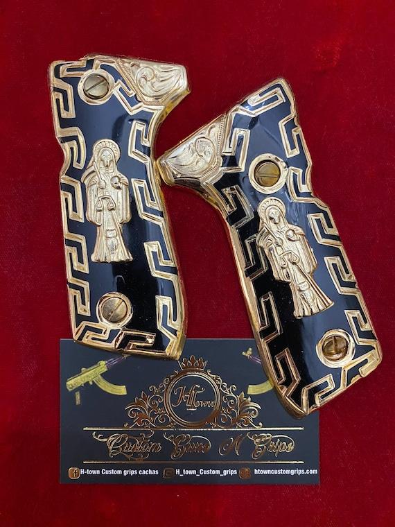 Beretta fs92 fs96 hand Made ba\u00f1o de 24k cachas santa muerte incluye tornillos