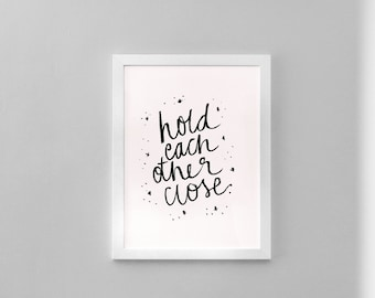 Brush Lettered Print, Love, Printable Artwork, Home Decor Wall Art, A4