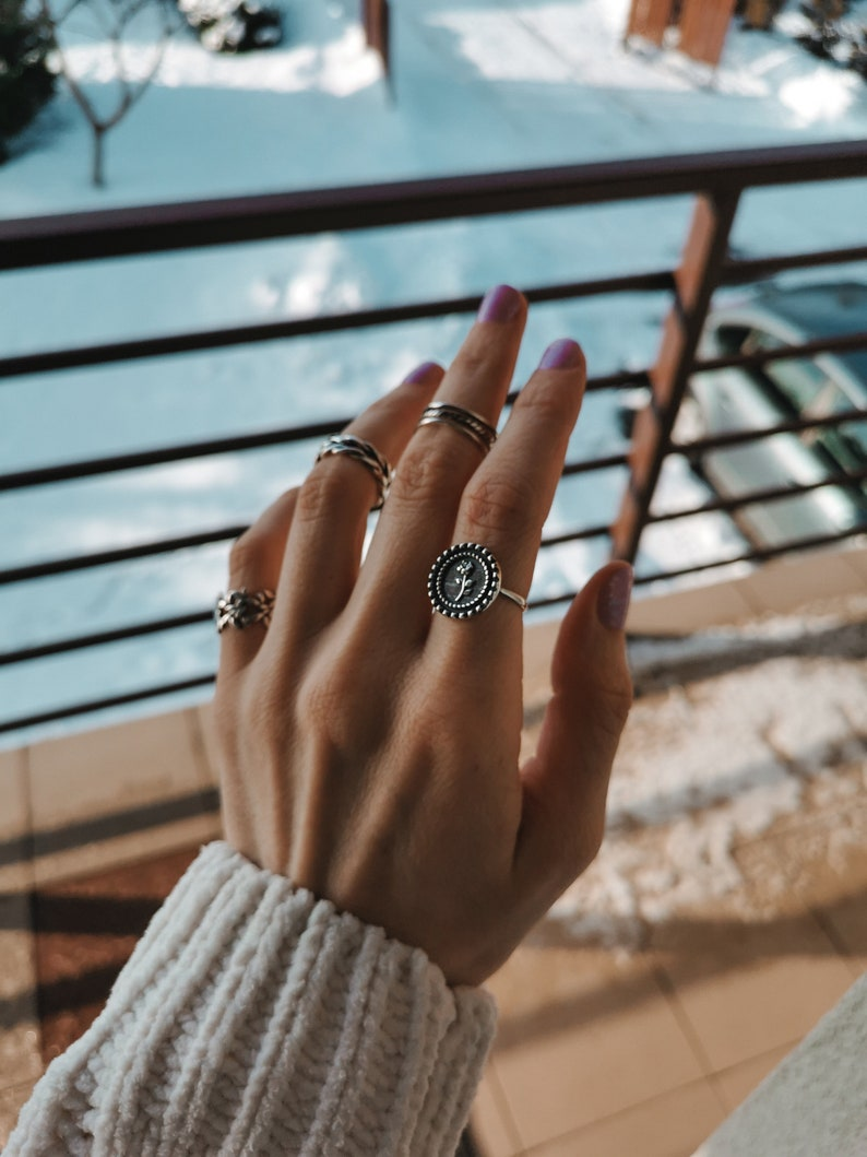 Flower Ring Stackable Rings Open Rings Old Silver Ring Stacked Ring Adjustable Rings Vintage Rings 925 Silver Ring Daisy Ring Silver