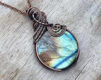 Labradorite Pendant Wrapped in Oxidized Copper Wire FREE SHIPPING