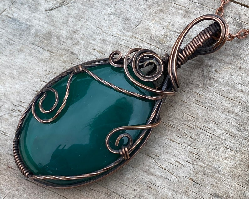 Boho Jewelry Green Crystal Necklace Gift for Her Green Agate Necklace Wire Wrapped Pendant Copper Wrapped Jewelry Green Agate Pendant