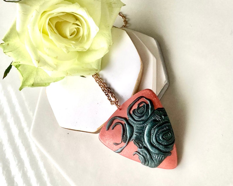 Copper Polymer Clay Pendant Gift Box Clay Jewellery Gift For Her