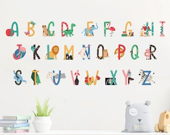 Alphabet Wall Stickers for Easy Phonics Learning | Reusable Peel & Stick Decals for Kids' Bedroom, Nursery, Playroom | PVC-Free, No Odour