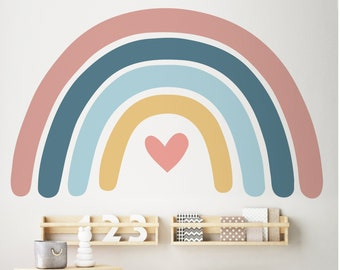 Large Rainbow Wall Sticker for Kids' Bedroom, Nursery, Playroom   PVC-Free, No Odour   Repositionable Peel & Stick Fabric Wall Decal