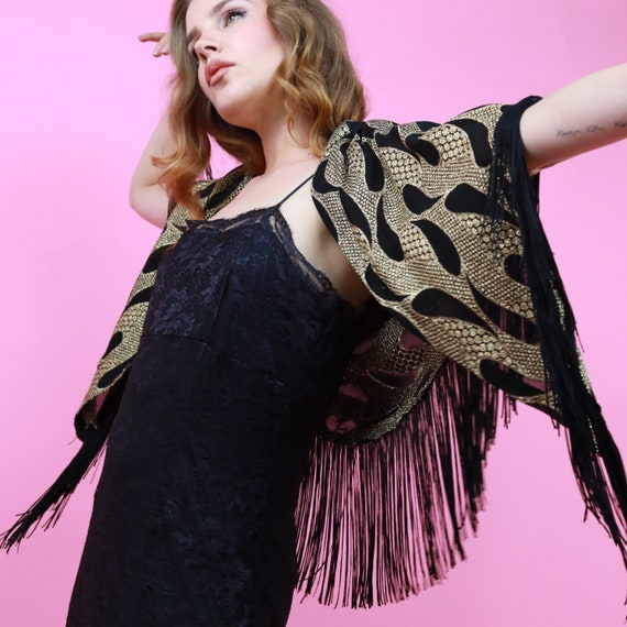 vintage gold and black paisley shawl with large bl