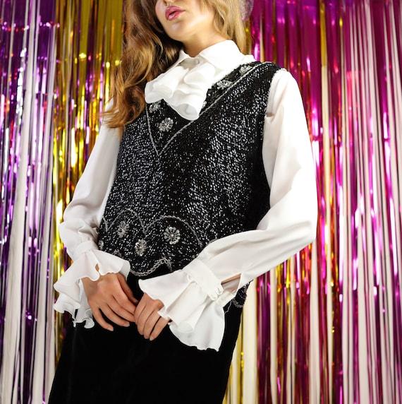 Vintage 60s black and silver floral sequin vest