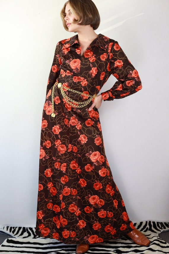 Vintage 70s brown and orange floral Gucci style d… - image 1