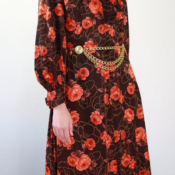 Vintage 70s brown and orange floral Gucci style d… - image 5