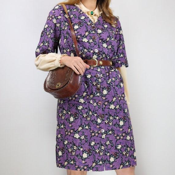 Vintage 70s cotton floral Gucci style dress - image 1